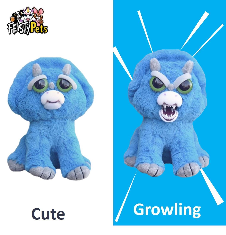 Feisty Домашние животные игрушки мягкие плюшевые сердитые животные куклы подарок синий Трицератопс динозавр