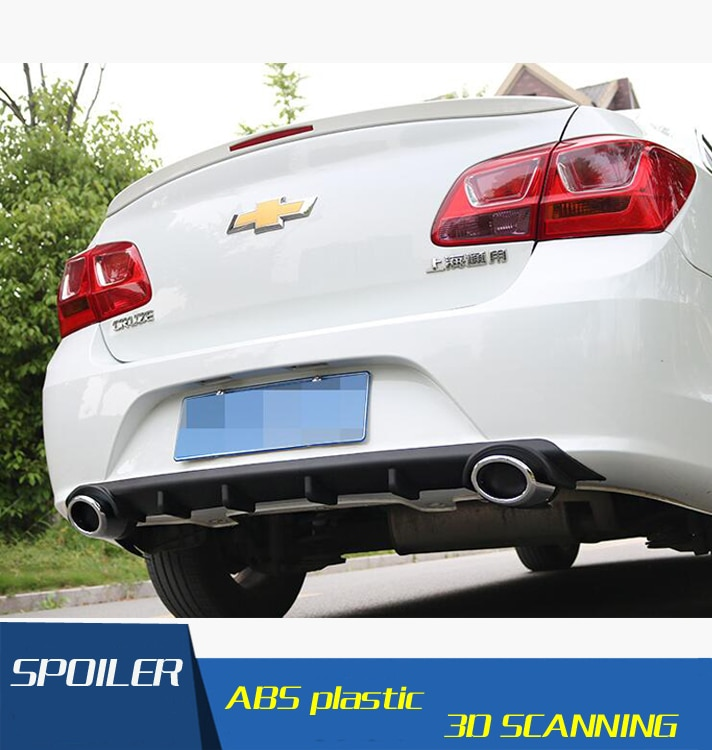 Para Cruze alerón trasero ABS para difusor de parachoques trasero parachoques Protector para Chevrolet cruze después de cromo alerón trasero borde 2015-2016