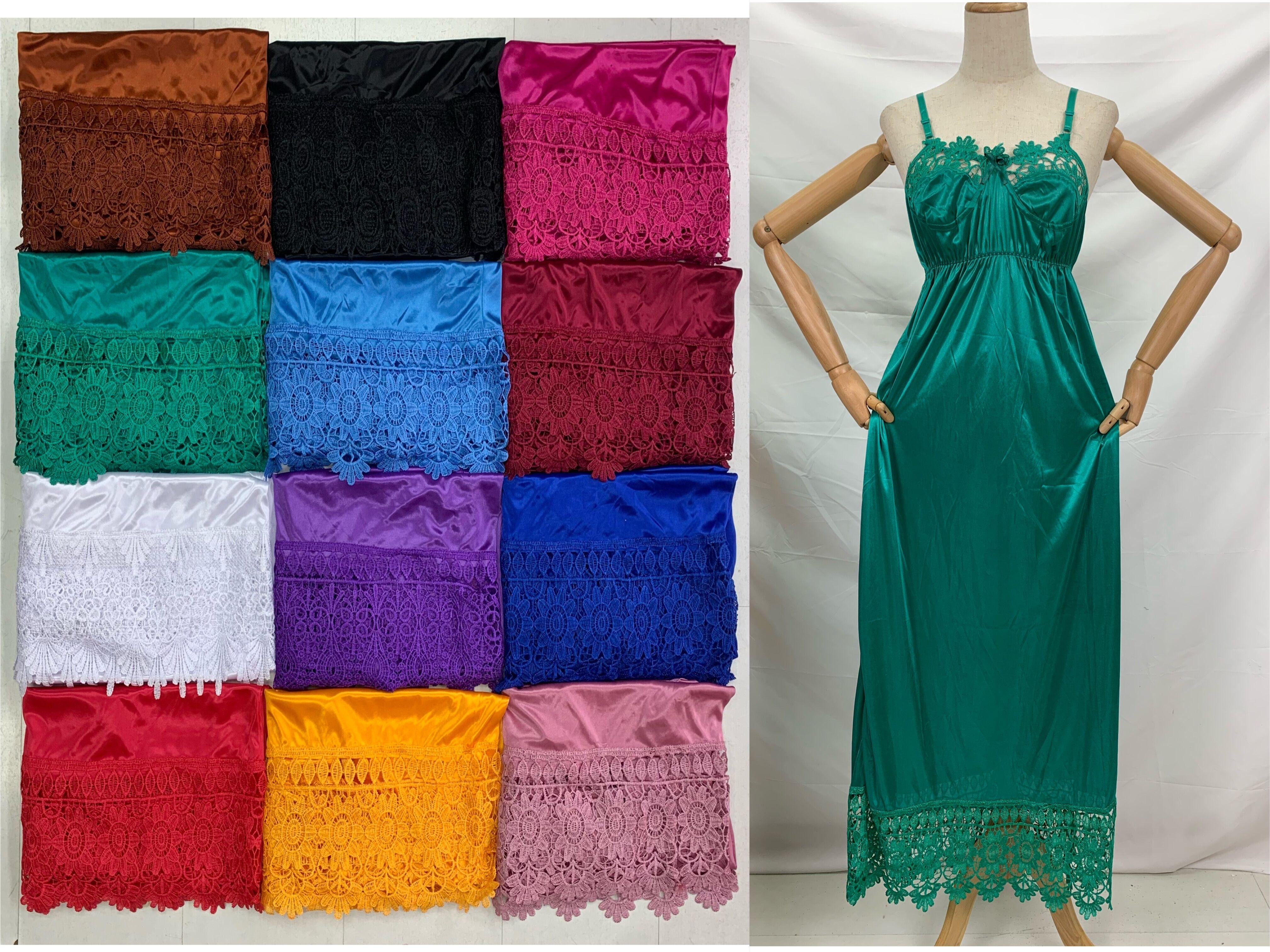 12 pcs/1 dozen Plus Size Women Sexy Silk Satin Night Lace Dress Sleeveless Nighties Condole Belt Skirt Sleepwear