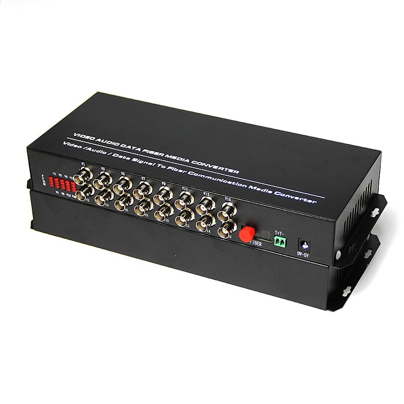 1 Pair Single Mode Single Fiber Desktop 16 Channel Digital Optical Fiber Video Converter Distance Up To 20KM With FC connector enlarge