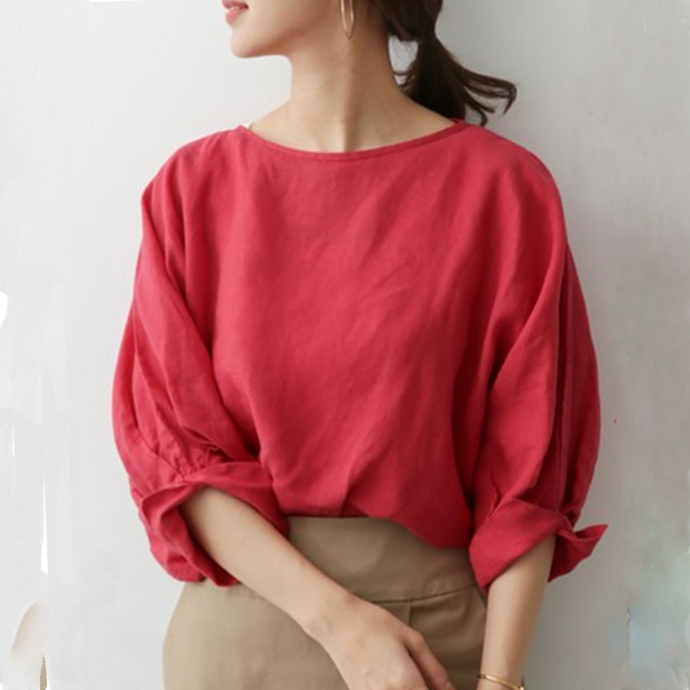 Korean Style 2021 Women Summer Solid O-Neck Red Three Quarter Casual Regular Blouse Minimalist Office Lady Tops Retro