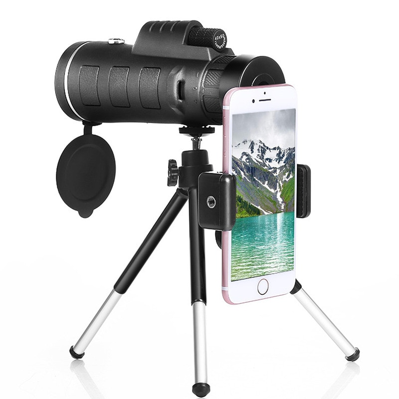 HD High-power Low Light Night Vision 40X60 Monocular Teleskop Prisma Umfang mit Kompass Telefon Clip Stativ für Outdoor-aktivitäten