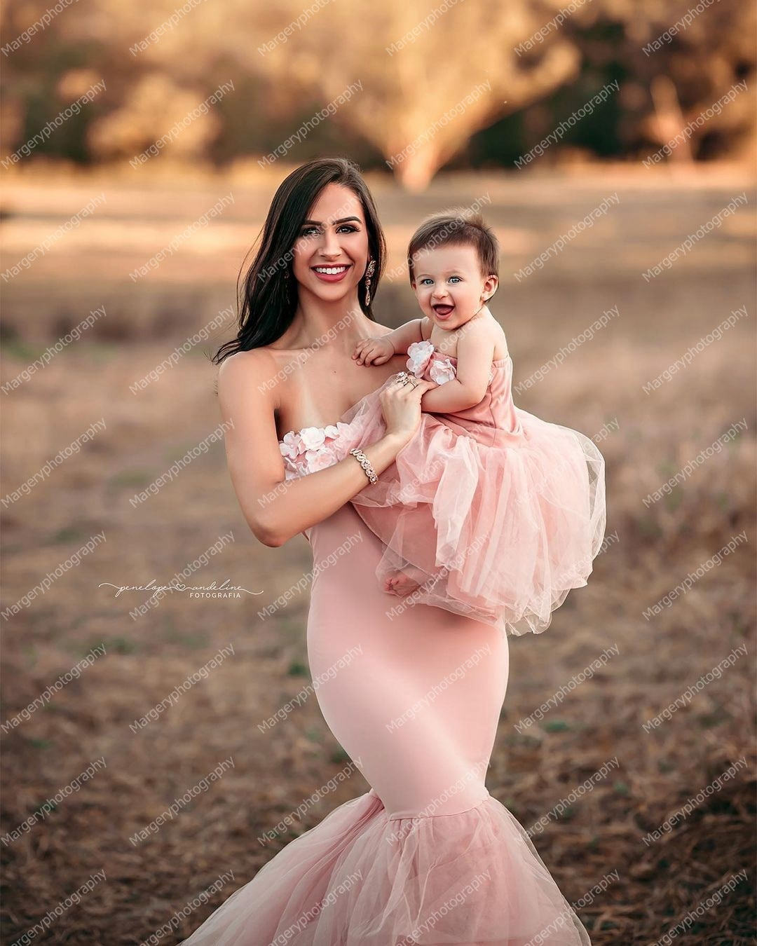Lovely Pink Mother And Daughter Photo Shoot Dresses   Mermaid Slash Neck Handmade Flower Tulle Stretchy Mom   And Me Gown enlarge