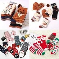 womens winter socks sox thickened plush cute cartoon animal christmas gift socks warm non slip home floor socks new year gift