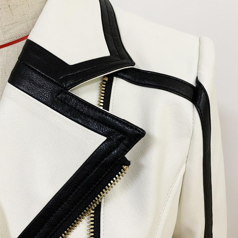 Autumn Winter Black White Spliced PU Faux Leather Jacket Women Zipper Slim Moto Biker Jackets Female Casual Coats enlarge