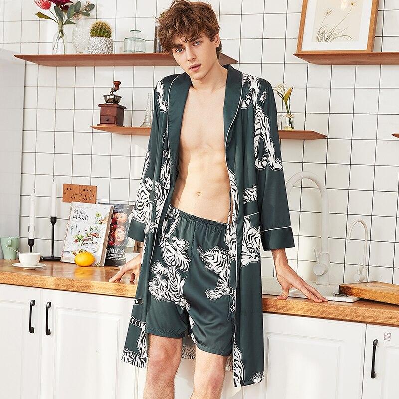 2шт лето мужчины% 27 атлас халат комплект домашняя одежда принты одежда для сна высокое качество халат% 2B шорты пижама комплекты мода сон% 26 гостиная ночное белье