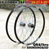 x cobra mtb mountain bicycle wheel set 2627 529er inch 144 ring qr thru or qr wheels hub 8 9 10 11s and xd 12speed