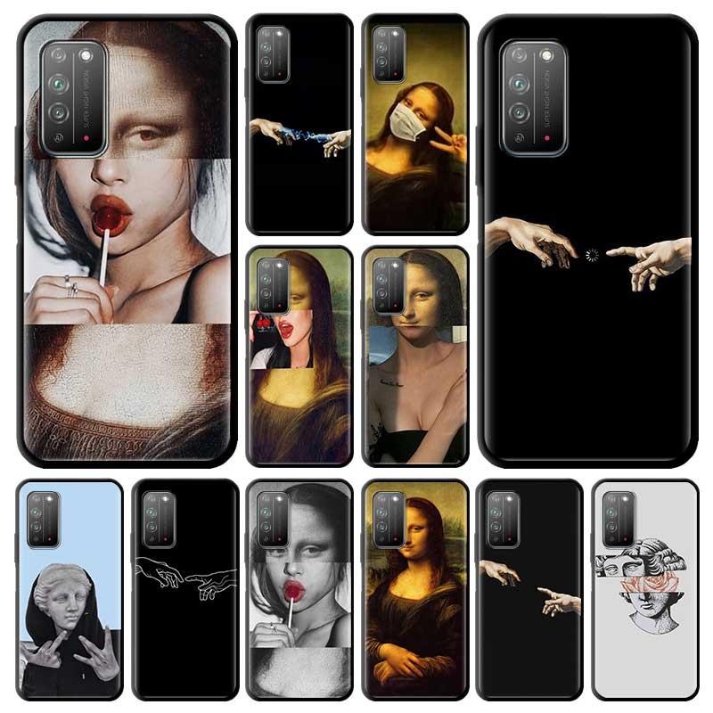 Mona lisa arte david estojo para huawei honra 20 20i 9s 9c 9a 10 lite y9 y7 2019 y9s y8s y8p macio carcasa telefone coque