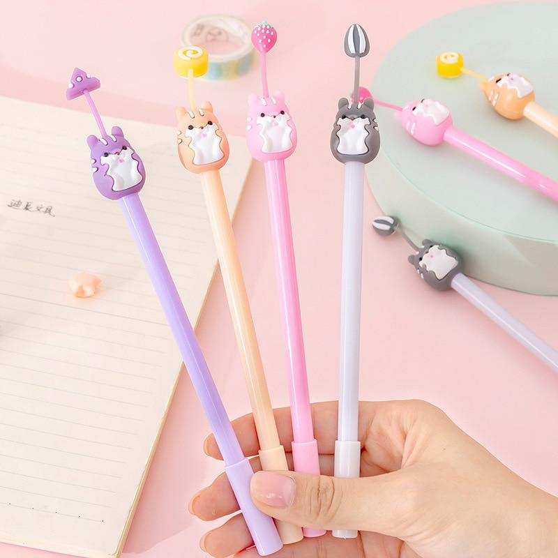 4PC creativo coreano de dibujos animados suave lindo hámster bolígrafo de Gel de silicona lindo estudiante examen pluma firma de oficina pluma