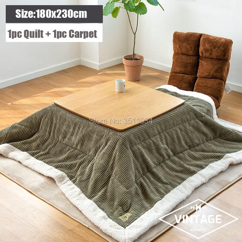 180x240cm Kotatsu Futon Blanket 1pc Funto + 1pc Carpet Cotton Soft Quilt Japanese Kotatsu Table Cover Square/Rectangle Comforter