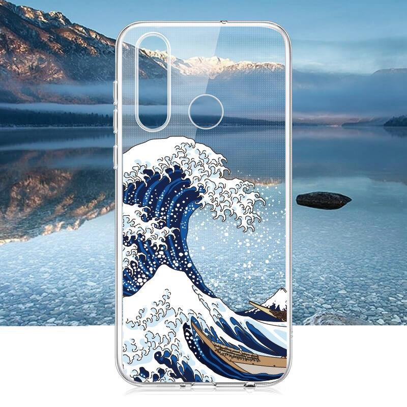 La Gran Ola de Kanagawa para Huawei Honor Mate 10 20 Nova P20 P30 P inteligente suave TPU cristal delgado protección de caso claro