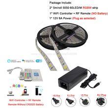12V cc 5050 RGBW LED bande 5M 10M 15M couleur variable Flexible LED bande + télécommande WiFi APP Alexa Google commande vocale + puissance