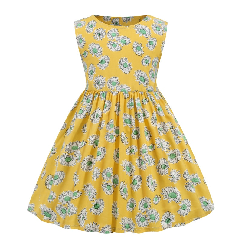 Kid Clothes Baby Girl Dress Casual Birthday Cotton Summer Elegant Flower Designer Cute Yellow Pastel Free Shipping Beach Costume