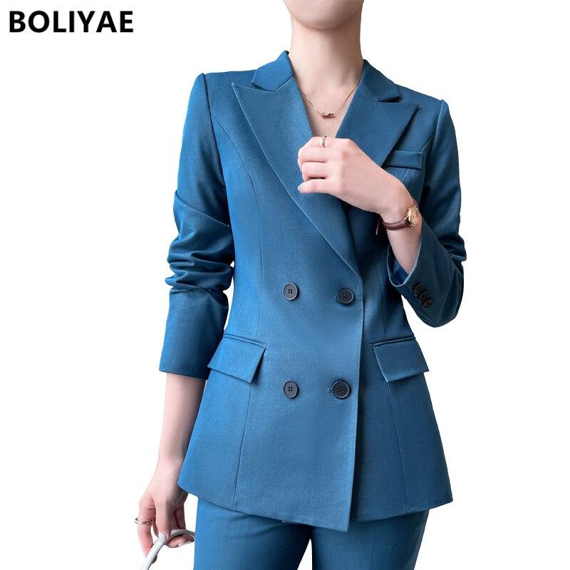 Boliyae الأزياء الدعاوى مجموعة امرأة 2 قطعة الربيع مزاجه طويلة الأكمام الحلل الخريف سترة مكتب Pantsuit العمل الملابس قمم