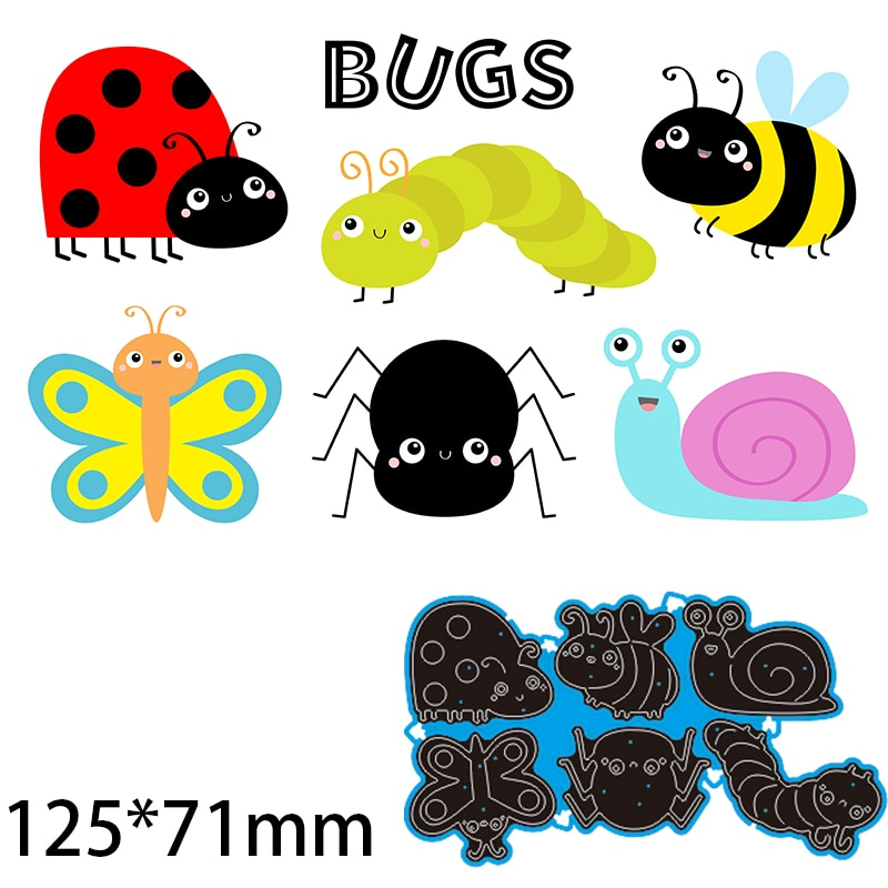 125*71mm Ladybug Dragonfly Bee Spider Snail Cutting Dies DIY Scrap Booking Photo Album Embossing Paper Cards