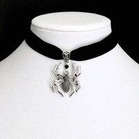 Чокер-паук из черного бархата в готическом стиле, ожерелье из паутины серебряного цвета, викторианские украшения, женский подарок, новинка ...