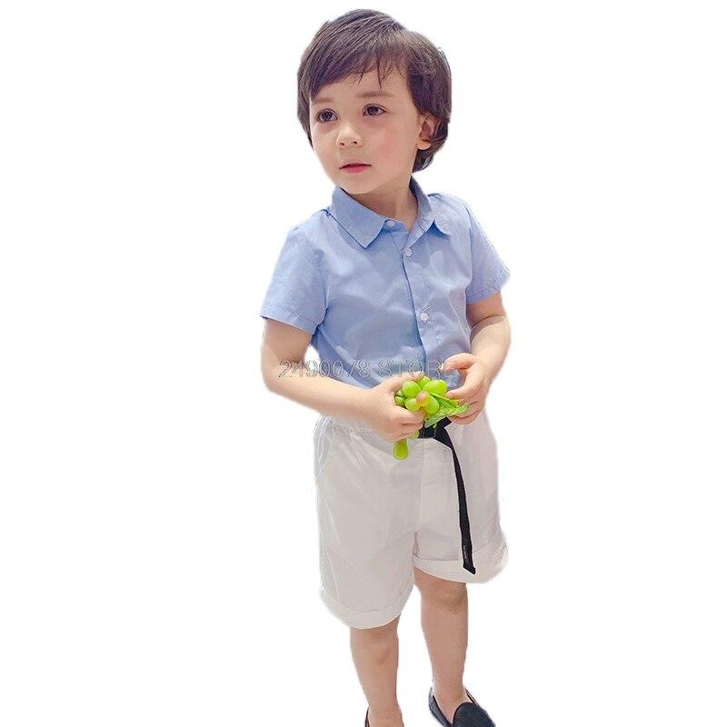 Vestido Formal de cumpleaños para niños con flores, traje de baile para niños, conjunto de 2 uds. De 2 uds. De camisa azul + Pantalones cortos blancos, conjunto de ropa 2-10T