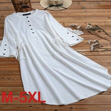 Spring O-Neck Mid-Calf High Waist Dress Big Plus Size Solid Button Elegant Office Ladies Cotton Line