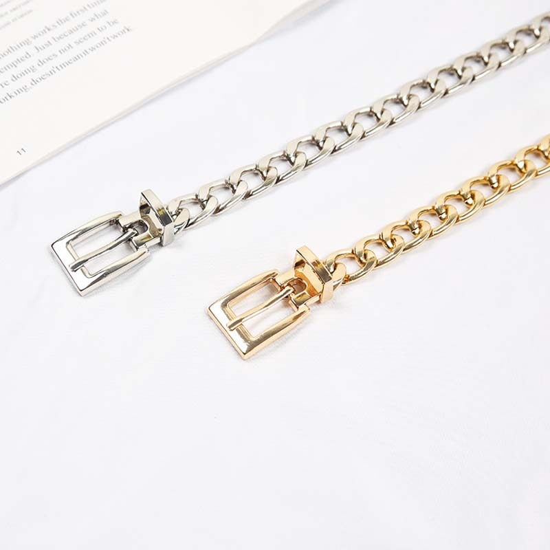 Punk Hip Hop Women Metal Belts Gold Silver Waist Strap Thick Chain For Jeans Trousers Casual Ladies Female Waistband