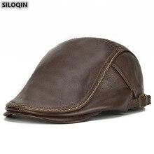 SILOQIN chapeau en cuir véritable   Taille réglable pour hommes, bérets en cuir de vache, marques de loisirs élégantes, casquette Snapback, tendance, nouveau