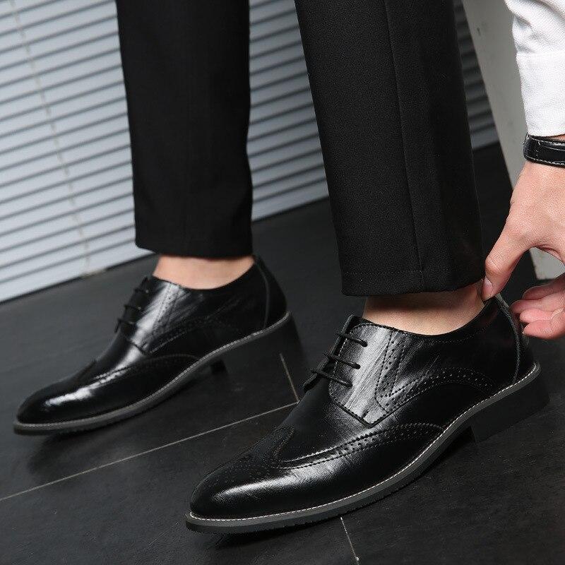 38-48 кожаные туфли мужские джентльменские стильные удобные деловые мужские классические туфли # LH10001 мужские классические кожаные туфли