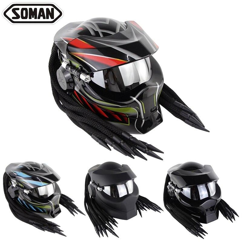 Casco moto cross moto rcycle шлем capacete de moto cicleta Predator Cascos Casque маска из стеклоткани Verspa Alien Caoacete