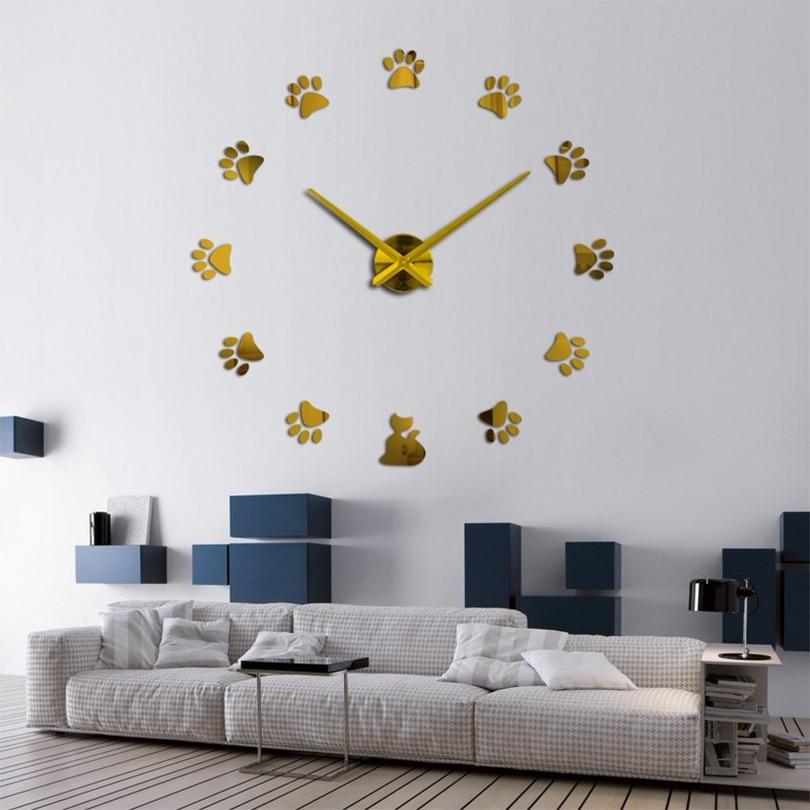 Reloj de cuarzo acrílico para pared, con espejo 3d reloj de pared,...