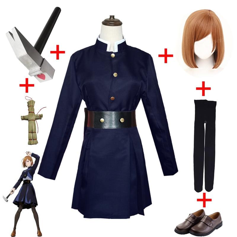 Anime Jujutsu Kaisen Cosplay Costume Adult Yuji Itadori Kugisaki Nobara Prop Hammer Wig Gojo Satoru uniform Contact Lenses Women