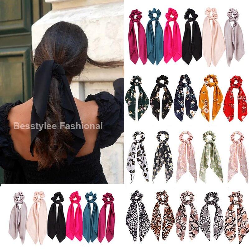 Fashion Solid Color Scrunchies Long Hair Rope Korean Hair Ties for Women Ponytail Scarf Sweet Elastic Hair Band Hair Accessories