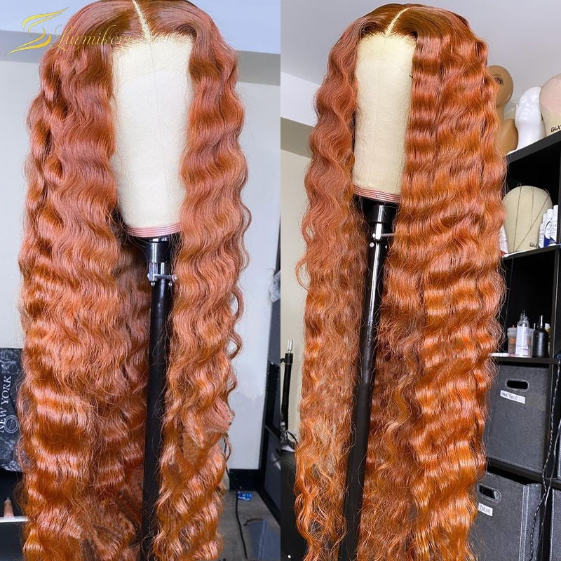 Deep Wave Ginger Colored 13X6 Lace Front Wig HD Transparent Orange Real Human Hair Wig For Black Women Preplucked Full Frontal