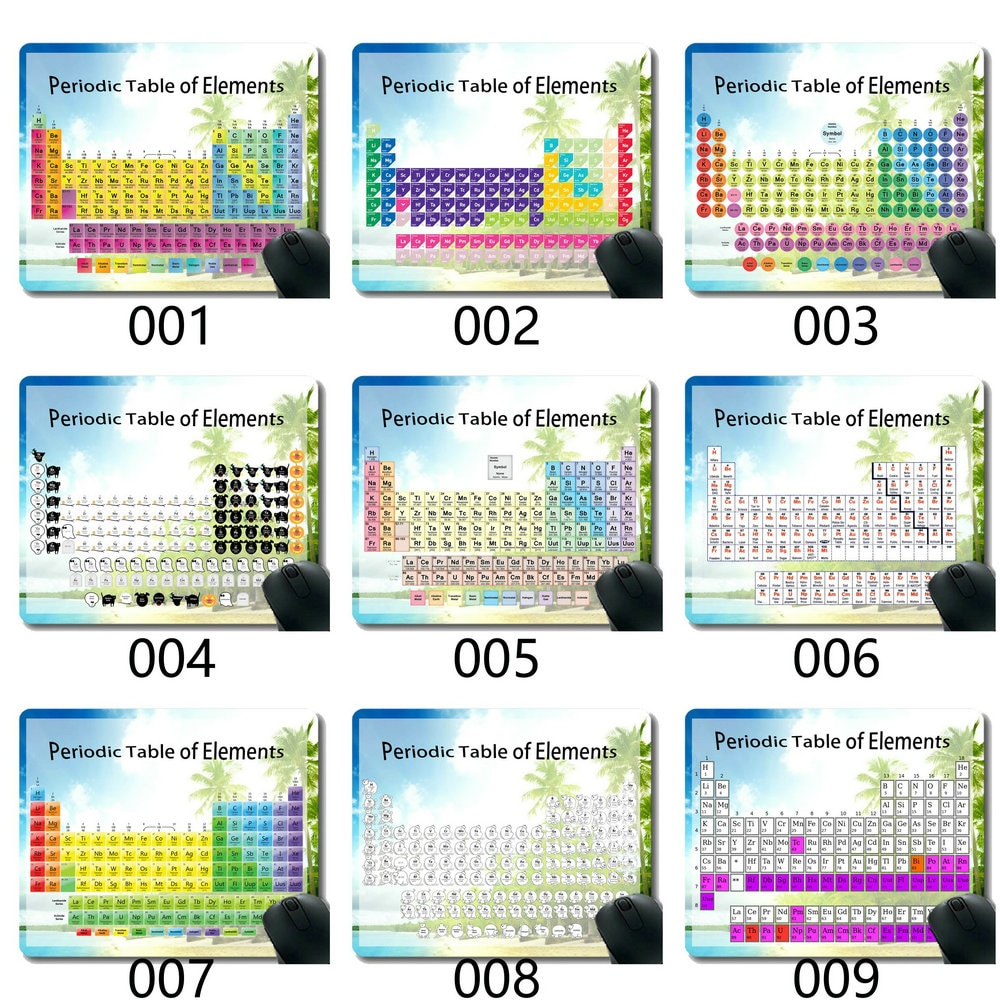 Tabela periódica do costume da almofada do rato dos elementos, almofadas temáticas do rato da água do mar de corfu