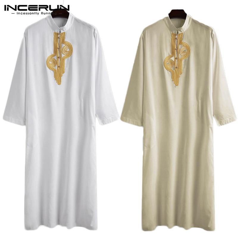 Loose Patchwork Muslim Kaftan Robes INCERUN Men Vintage Long Robes Leisure Long Sleeve Stand Collar Jubba Thobe Islamic Clothing