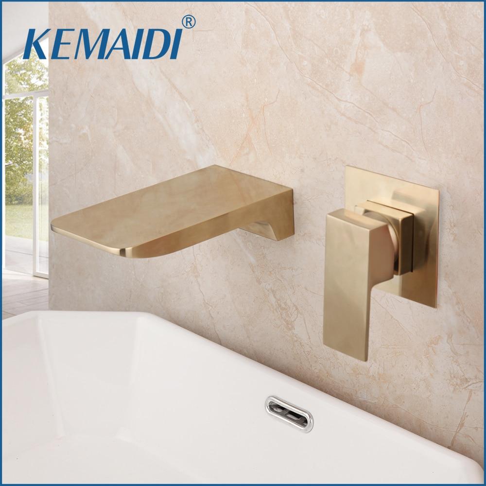 KEMAIDI نحى الذهب حوض صنبور جزءا لا يتجزأ من صندوق صمام بالوعة الحمام صنبور الحائط وحيد مقبض شلال صنبور حوض خلاط رافعة