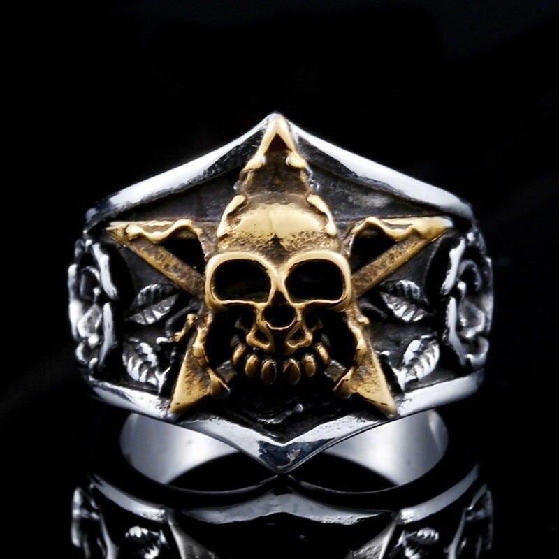 Novo design gótico dominador pentagrama crânio anel do vintage cinco estrelas crânio anel para homem punk biker jóias presente