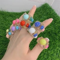 new ins fashion gold foil colorful big bead transparent geometric square resin acrylic finger rings for women party jewelry gift
