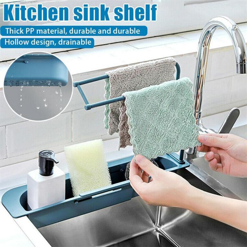 Telescopic chiuvetă raft bucătărie săpun burete chiuvetă scurgere suport chiuvete organizator coș depozitare gadgeturi bucătărie accesorii