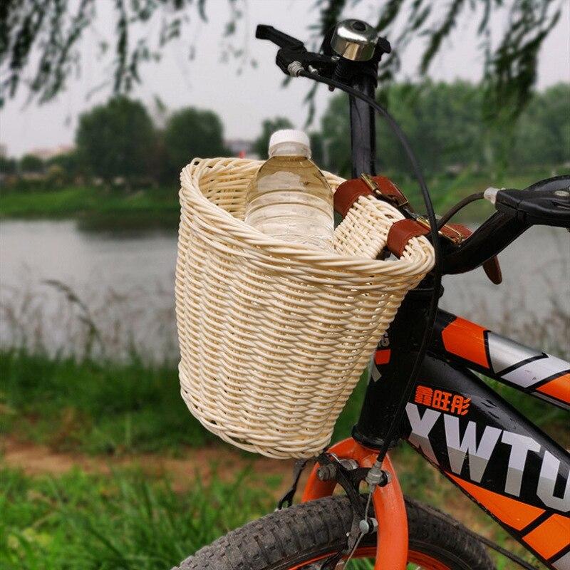 Imitated Rattan Bike Basket Kids Rattan Handwoven Bicycle Basket Rattan Bicycle Front Bag Storage Container Bike Accessories