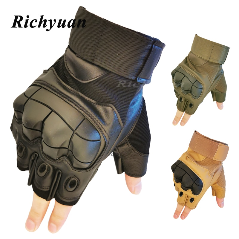 PU Leather Half Finger Motorcycle Gloves Military Tactical Cycling Motorbike Motocross Hard Knuckle Fingerless Protective Gear