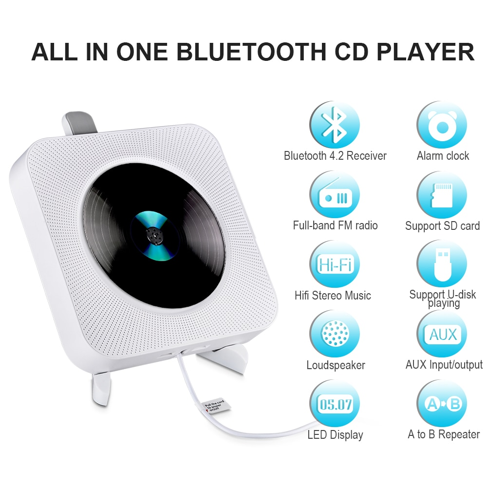Wall Mounted CD Player With Bluetooth Remote Control Walkman Stereo FM Radio HiFi Music Built-in Speaker Discman Lecteur CD enlarge