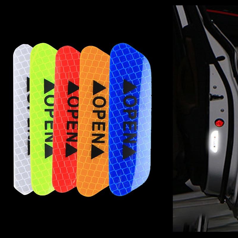 4 Uds tiras reflectantes abiertas para coche fluorescentes pegatinas de advertencia impermeables iluminación de seguridad de conducción nocturna cintas luminosas