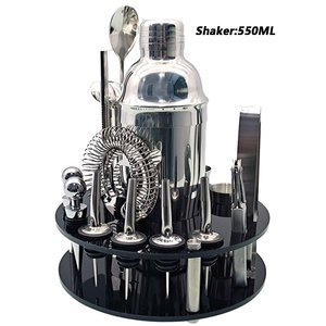 Practical Acrylic Base Bartender Set Cocktail Shaker Set With Rotating Stand Bar Tools Gifts Home Decoration
