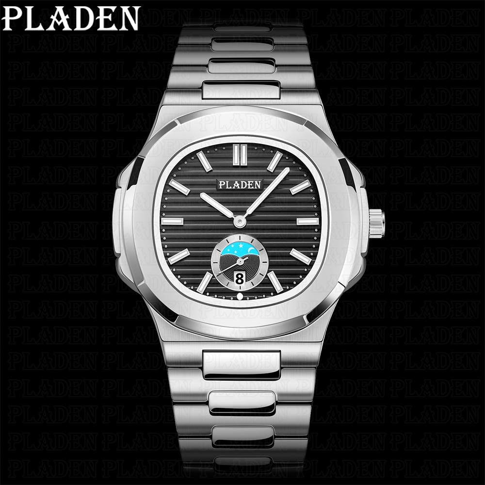 PLADEN Business Sports Watches Men Luxury Top Brand Stainless Steel Quartz Watch Waterproof WristWat