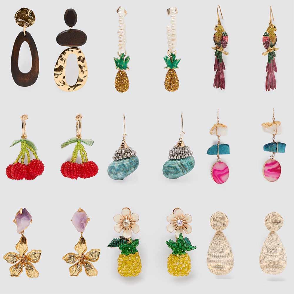 Girlgo 2020 ZA Earrings for Women Summer Vintage Fruit Shell Drop Dangle Earrings Wedding Jewelry Party Holiday Gifts Wholesale