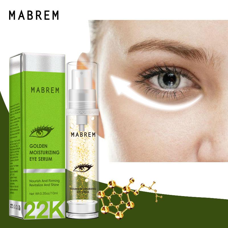 MABREM 24k Golden Anti-wrinkle Eye Serum Moisturizing Fades Dark Circles Fine Lines Fat Granule Relieve Dry Tighten Skin Care