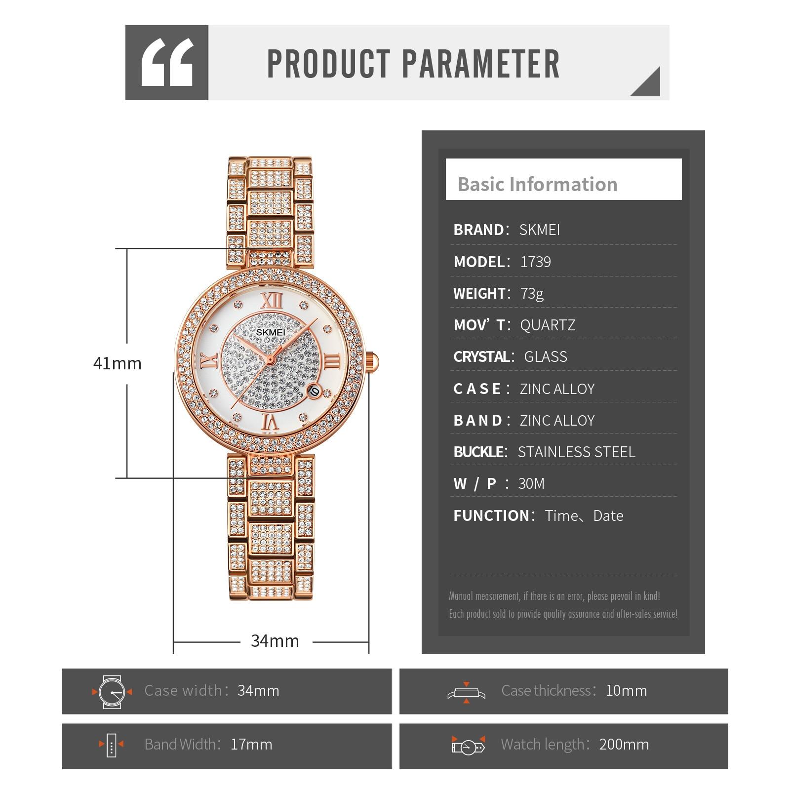 SKMEI Elegant Female Quartz Watches Mosaic Luxury Diamond Ladies Quartz Clock 2021 New Arrival 1739 enlarge