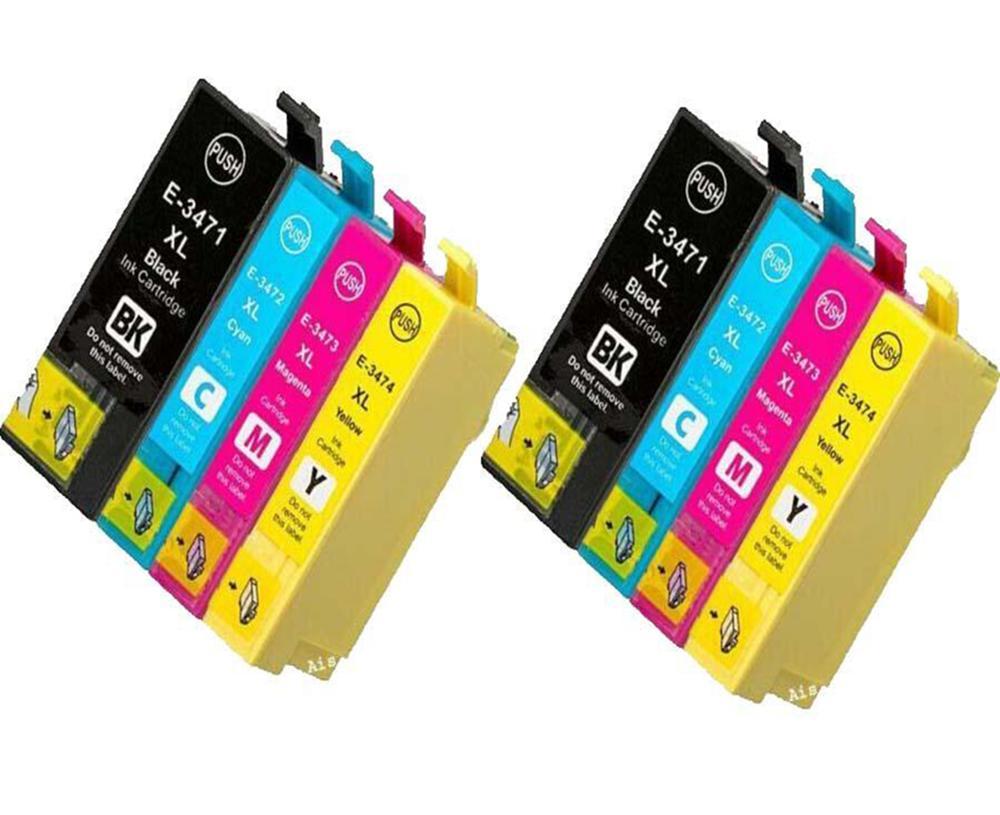 E3471-4-8PK خراطيش الحبر متوافقة لإبسون 34XL WF-3720 WF-3720DWF WF-3725DWF