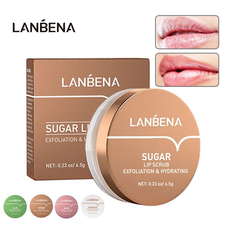 LANBENA Lip Scrub Nourishing Moisturizing Repair Dry Exfoliator Lips Mask Patches Rose Coconut Oil Aloe Vera SKin Labial Care