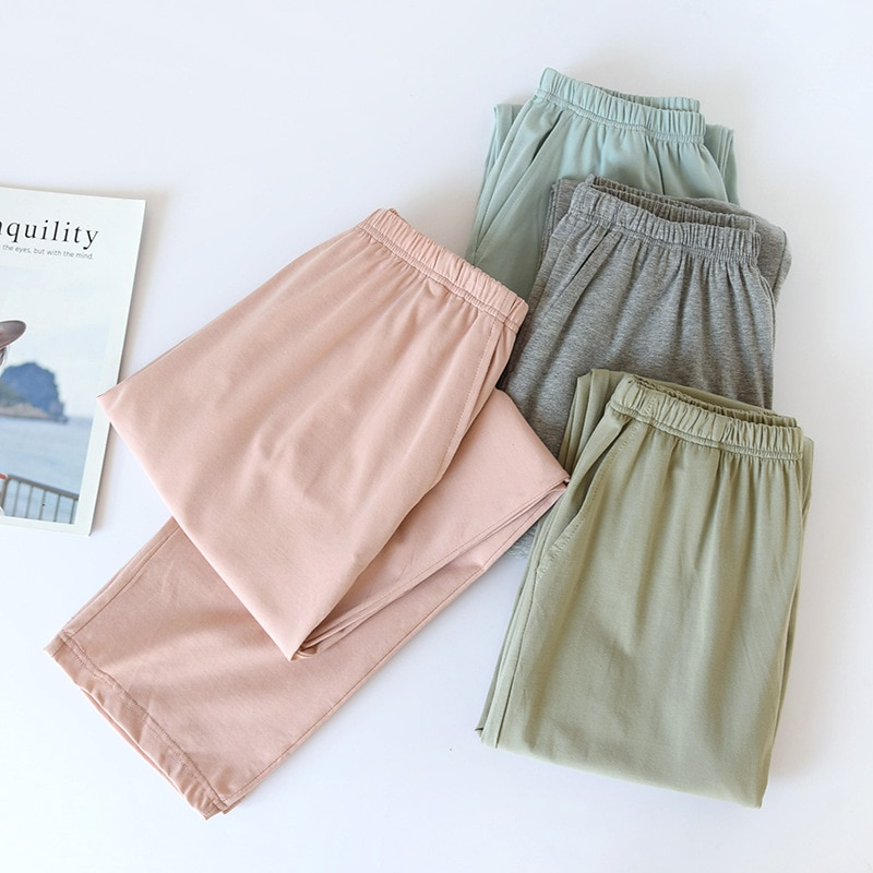 Summer Cotton Pants Spring Leisure Sleep Bottoms Women and Men Lounge Wear Elastic Waist Solid Odell