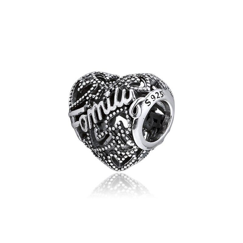 Colgante de corazón familiar, joyería de plata 925 auténtica, pulseras y collares de cuentas, amuleto de joyería femenina de moda DIY
