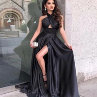 2020 red pleats sleeveless sweep train high slit evening dress sexy party masys a line long prom gown real photo le4054